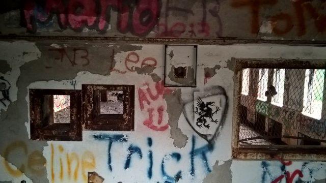 Graffiti-covered wall